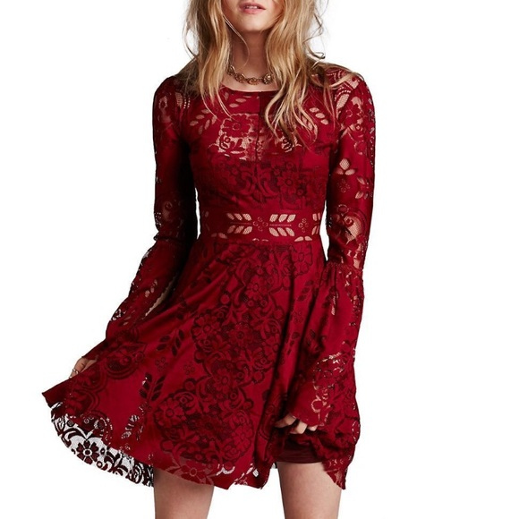 Free People Lace Dress Cap Sleeves And Cutout Back